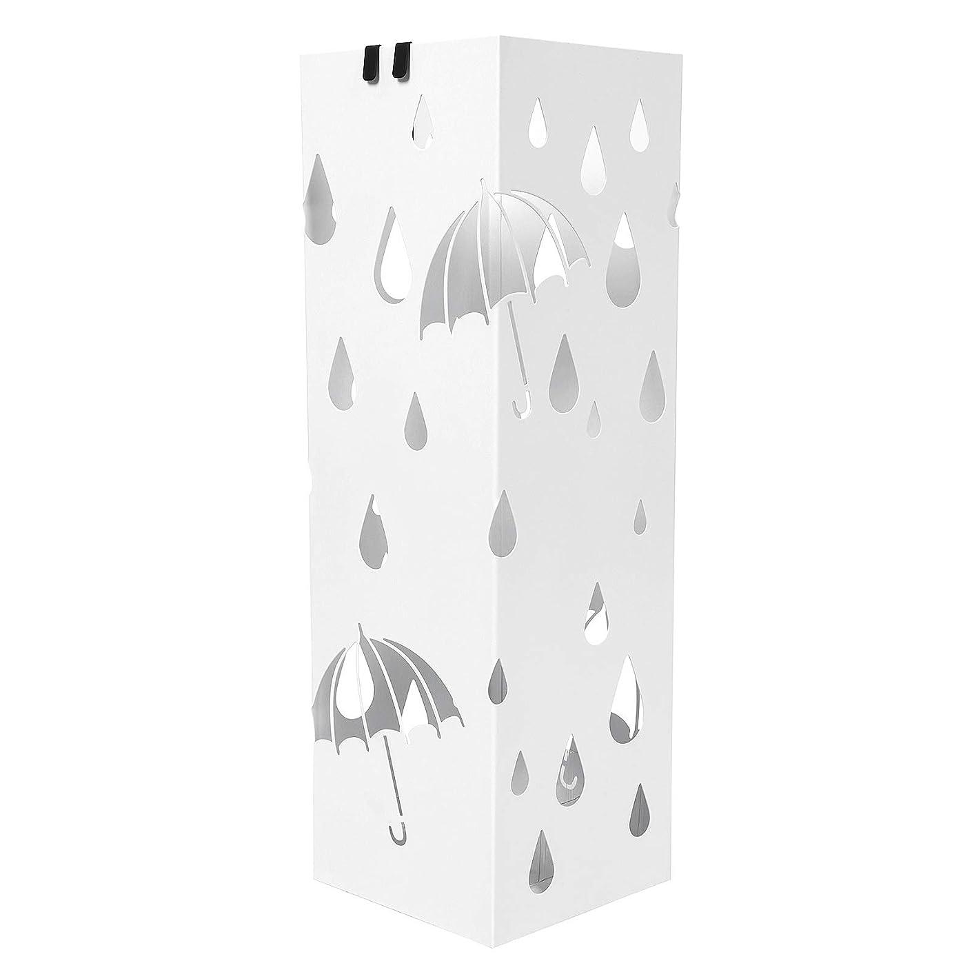 トラフィックマイナス喉頭SONGMICS 傘立て 傘たて おしゃれ 水受けトレイ付き アンブレラスタンド 折り畳み傘兼用 玄関収納 傘入れ ホワイト NLUC49WV1