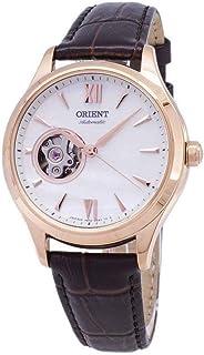 ساعة اورينت اوتوماتيكية بقلب مفتوح بسوار جلدي باللون الذهبي الوردي طراز RA-AG0022A00C