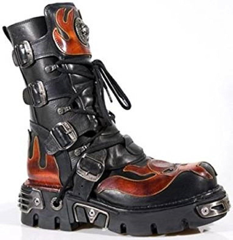 New Rock Newrock 107 -S1 röd Skull Devil svart Leather Leather Leather Boot Biker Goth Rock Boots  rabatt lågt pris