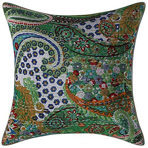 Funda de cojín de algodón de cachemira indio, de 40,6 cm, color verde