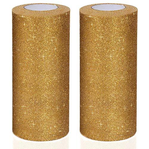 Handi Stitch Rollo de Tul Purpurina (Pack de 2) - 23 Metros x 15cm de Ancho Tela Tul Rollo Dorado Tela Brillante para Lazos de Silla, Falda Tutu, Bodas, Envolver, Fiesta Cumpleaños