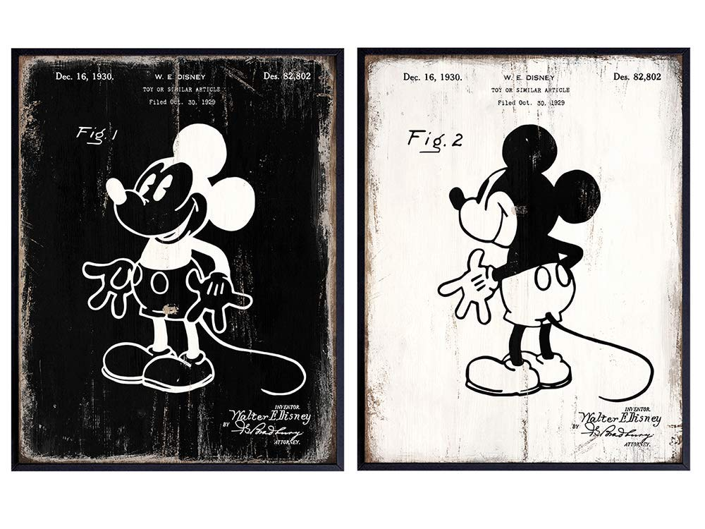 Mickey Same day shipping Mouse Patent Prints Set - Walt Disney Regular dealer for Dis World Gift