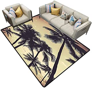 Stair Carpet Tropical Decor Collection Ocean Beach Sunset Sepia Tones Print Bedroom Rugs Area 4'x6'