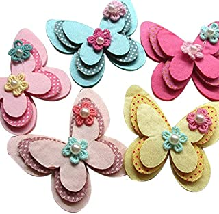 15pcs New Padded Felt Butterfly Satin Ribbon Flowers Beads Appliques Wedding A454 (Multi-color)