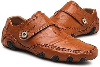 メンズシューズ 靴 男性 ローファー カジュアル フラットヒール 本革 滑り止め モカシン シューズ 通気性 (Color : 褐色, サイズ : 24 CM)