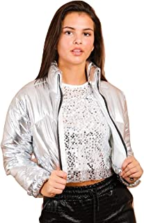 Momo&Ayat Fashions Ladies Shiny Wet Look Cropped Puffer Jacket AUS Size 8-14