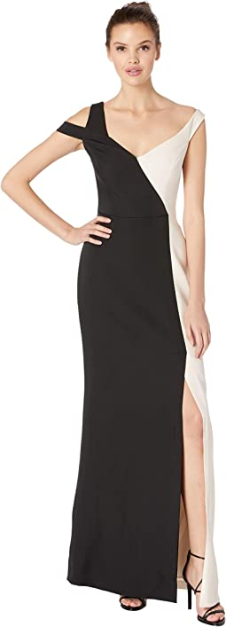 Bicolored Asymmetrical Neck Gown