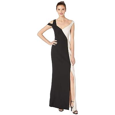 BCBGMAXAZRIA Bicolored Asymmetrical Neck Gown (Black/Combo) Women