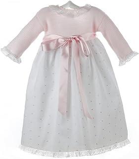 abaecc0d1 Isabel Maria - Faldón para bebé con el cuerpo tejido en punto bobo y la  falda