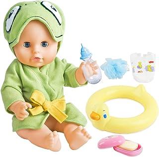 deAO Interaktiv sim bebisdocka leksaksset för badtiden med leksaks gummiring, tvål och tillbehör som ingår
