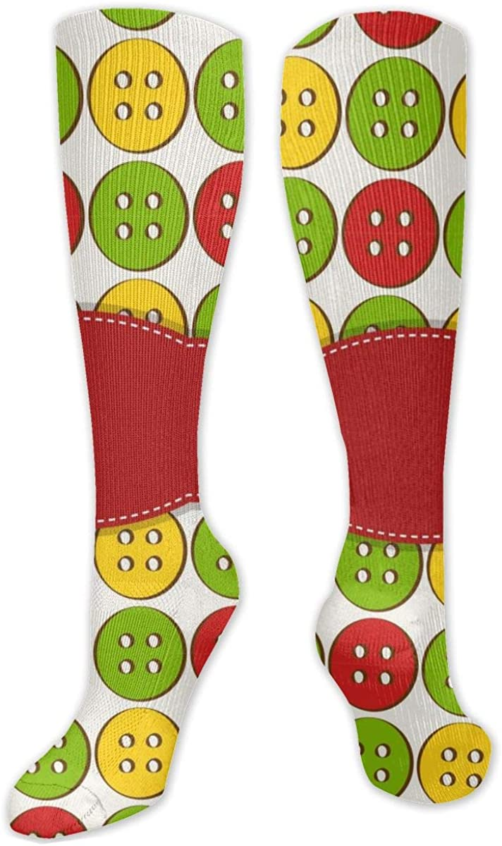 Colorful Button Knee High Socks Leg Warmer Dresses Long Boot Stockings For Womens Cosplay Daily Wear