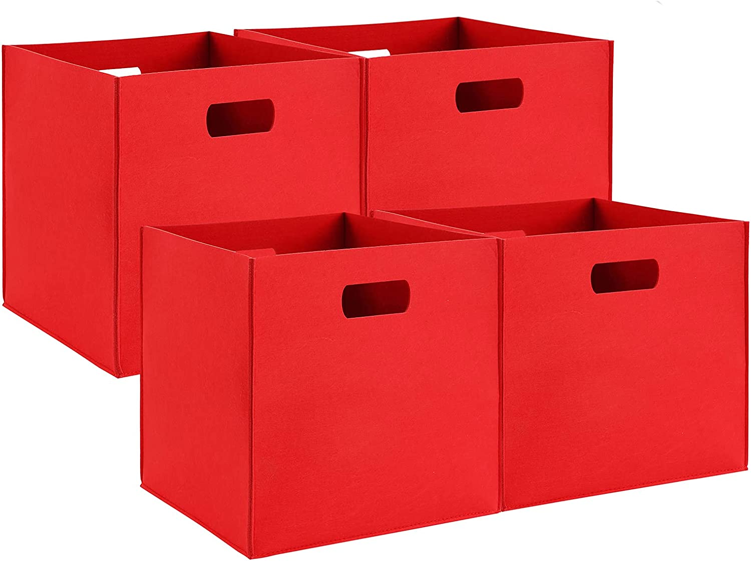 ckuscapo Foldable Felt Storage Cubes Bins Set of 4 | Cube Storage Bins | 12×12×12 inch Storage Baskets,Used for Closet Organizers, Clothes and Toys(Red)