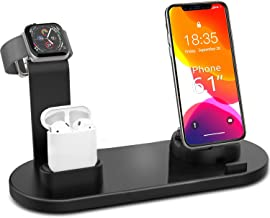 MARRRCH 3 in 1 Charging Stand,Wirelss Charging Stand Compatible with iWatch Series 4/3/2/1, AirPods,Micro/Type-C and iPhone 11/11 Pro/11 Pro Max/8/7/6S Plus(Original Charger & Cables Required) (Black)
