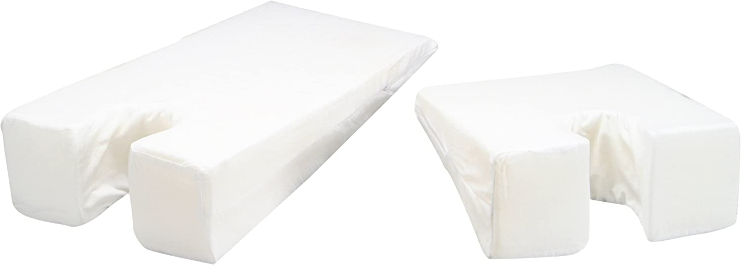 Hermell Face Down Wedge Cushion, U Shaped Foam, Gently Sloping, Minimizes Back Strain, Size Large, Removable Cover - White