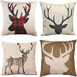 Jbralid Deer Christmas Winter Scottish Buffalo Plaid Red Animal Head Reindeer Cotton Linen Indoor Decor Throw Pillow Cover Case Set of 4, 18x18 in