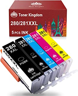 Toner Kingdom Compatible Ink Cartridge Replacement for Canon PGI-280XXL CLI-281XXL 280 281 Ink for PIXMA TR7520 TR8520 TS6120 TS6220 TS8120 TS8220 TS9120 TS9520 TS6320 TS9521C Printer (5 Pack)
