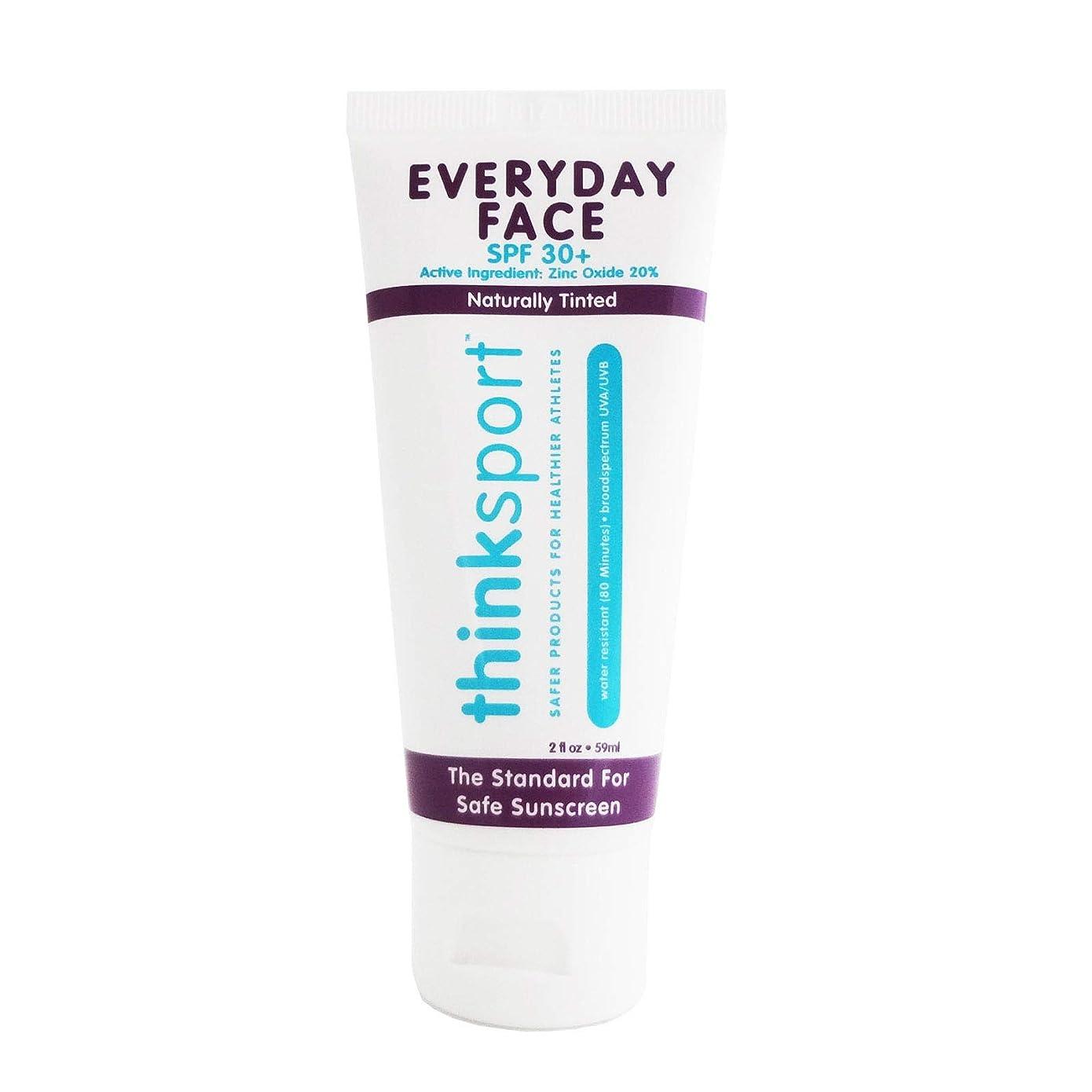 代わりの懲らしめ静かにThinksport エブリデーフェイスサンスクリーン ナチュラルティント 59 ml 毎日のお顔用日焼け止め 自然な肌色