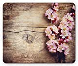 Ambesonne Floral Mouse Pad, Spring Blossom on Wooden Table Romantic Natural Farmhouse Countryside Style Print, Rectangle Non-Slip Rubber Mousepad, Standard Size, Brown Pink