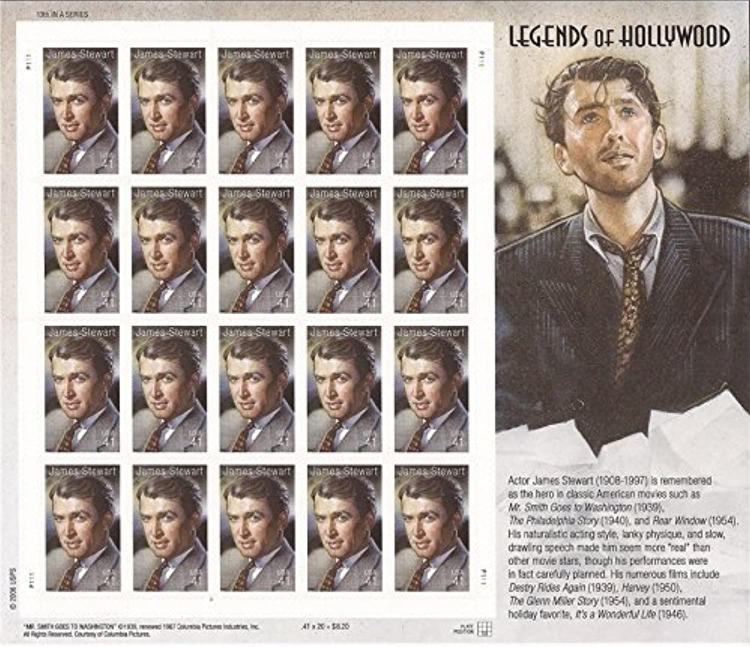 James (Jimmy) Stewart  Legends of Hollywood, Full Sheet of 20 x 41 Cent Stamps, USA 2007, Scott 4197 by USPS