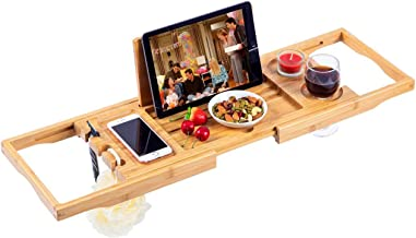 Utoplike Bamboo Bathtub Caddy Tray Bath Tray for Tub, Adjustable Bathroom Bathtub Organizer with Book Tablet Wine Glass Cu...