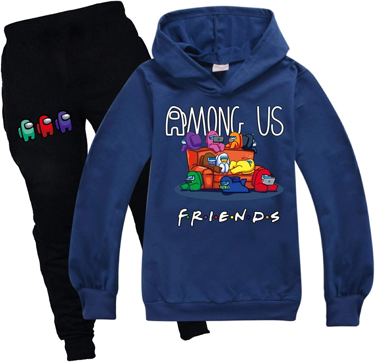 Youth Pullover Hoodie Among Us Sweatpants Suit Tracksuit Sweatshirt Set for Boys Girls