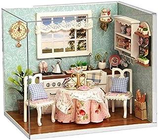 XYZMDJ Handgjord dockhusminiatyr, lyckligt hus miniatyrscen trädockhus