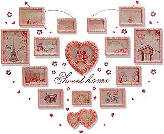 LONGWDS Marco de Fotos Foto de la Pared en Forma de corazón de Madera Maciza Europea salón cálida decoración Pared del Dor...