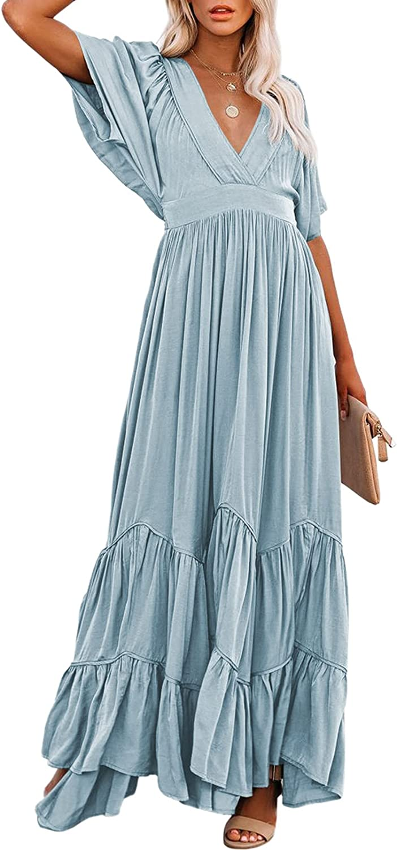 TEWWEY 値下げ Women's Summer Bohemian Dress Swing Sleeve V Batwing 送料無料(一部地域を除く) Neck