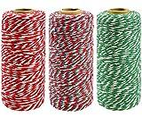heekpek 3 rotoli spago da giardino spago natalizio spago da casa in cotone fatto a mano spago da panettiere spago iuta decorativo per confezioni regalo 100 metri/rotolo
