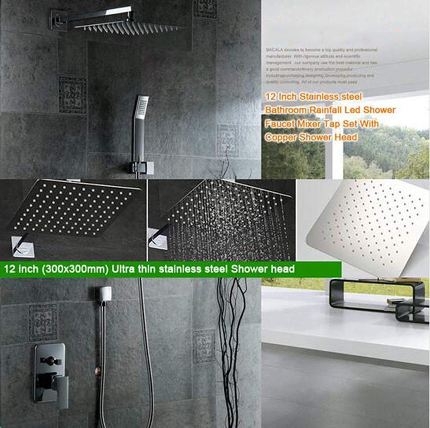 MICHEN Rain Mixer Shower Set Wall Mounted Rainfall Shower Head System,12inch