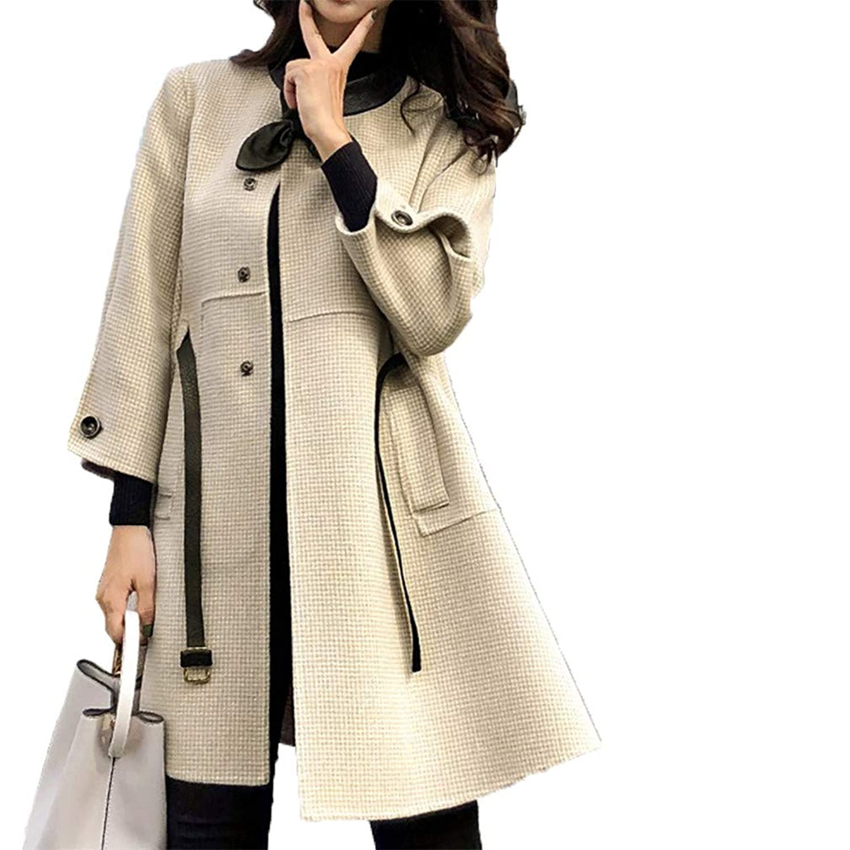 [美しいです]ウールコート、女性の長いセクション、学生のクローク、ハングトゥースのウールコート