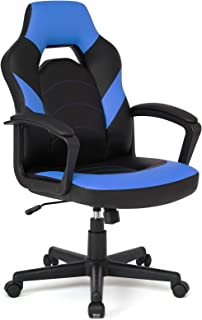 IWMH オフィスチェア テレワーク 椅子 ゲーミングチェア デスクチェア コンパクト 厚手 ハイバック ロッキング機能 360度回転 座面昇降 強化ナイロン樹脂ベース 在宅勤務 事務 勉強 (ブルー)