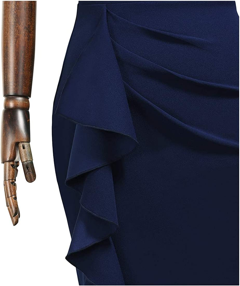 MIUSOL Women/'s Vintage Ruffle Sleeve Ruched Cocktail Party Pencil Dress