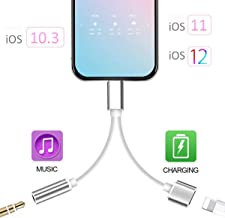 Headphone Adapter Jack Dongle for Phone 11 11Pro /Xs/Xs Max/XR/ 8/8 Plus/7/7 Plus Adapter Listen to Music Adapter Audio and Charge 3.5mm Splitter Converter Compatible with Adaptor Charger.(Sliver)