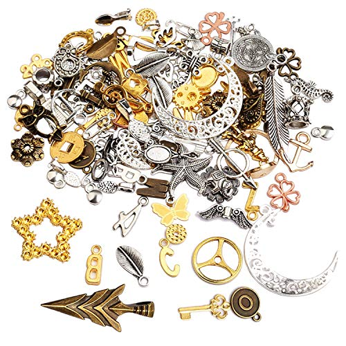 kuou 100Pcs Mixed Antique Styles Charms Pendants,DIY Necklace Bracelet Pendants for Crafting Cosplay Decoration Necklace Bracelet Jewelry Making Accessory(Random Style)