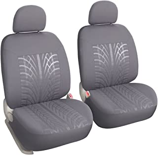 Leader Accessories Embossed Cloth Low Back Grey 2 Fronts Seat Covers for Cars Universal Fits Truck SUV with Airbag
