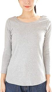 [Happy Honu(ハッピーホヌ)] コットン フライス Tシャツ 無地 大きいサイズ ゆったり 綿100 レディース M ~ 4L 長袖or8分丈 1枚組or2枚組