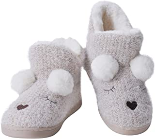 ANNALEMON Furry Ankle Bootie Slipper for Women Ladies Cute Textured House Booty Pink