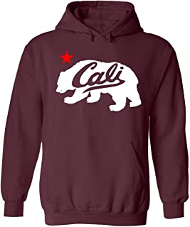 White Cali Bear Design Popular California Unisex Pullover Hoodie Sweatshirt