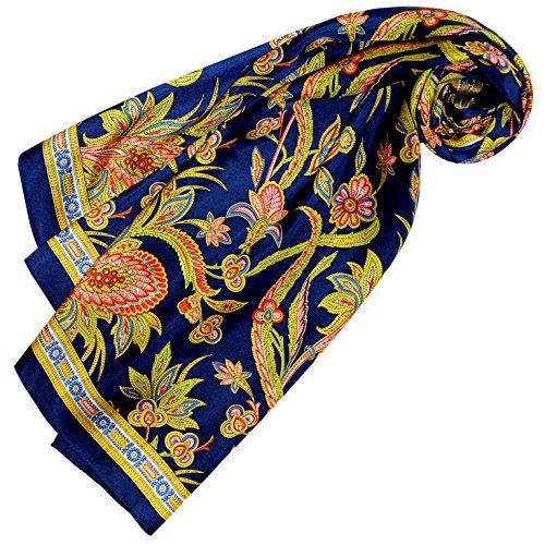 LORENZO CANA Luxus Damen Seidentuch aufwändig bedrucktes Tuch 100 % Seide 90 cm x 90 cm harmonische blau gold rot Farben Damenseidentuch Schaltuch 89164