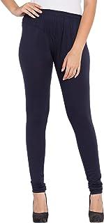 American-Elm Women's Navy Blue V-Cut Solid Stretchable Cotton Lycra Churidar Leggings/Yoga Pants