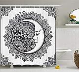 Nyngei Zodiac Shower Curtain Intricato Boho Mandala etnica Forma con Crescent Moon Primo Piano Alchimia Simbolo Tessuto Arredo bagno Set con ganci Long Navy White