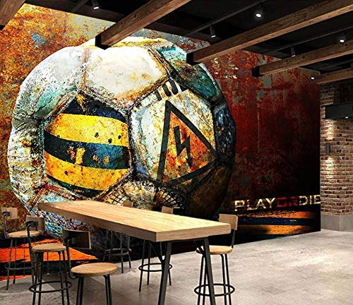 LONGYUCHEN Papel Tapiz Mural 3D Personalizado,Vintage Fábrica De Metal De Fútbol, Estereoscópico HD 3D Gran Mural Moderno Sala De Estar Dormitorio TV Fondo Decoración Mural, 200Cm(H)×300Cm(W)