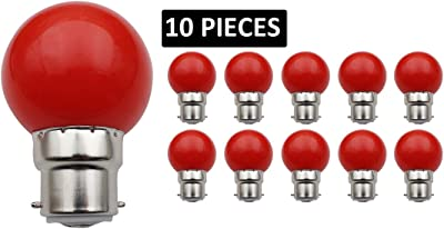 JCKing(Pack of 10)B22d Golfballビール庭園照明ランプパティオパーティークリスマス用の色付き電球 - 赤