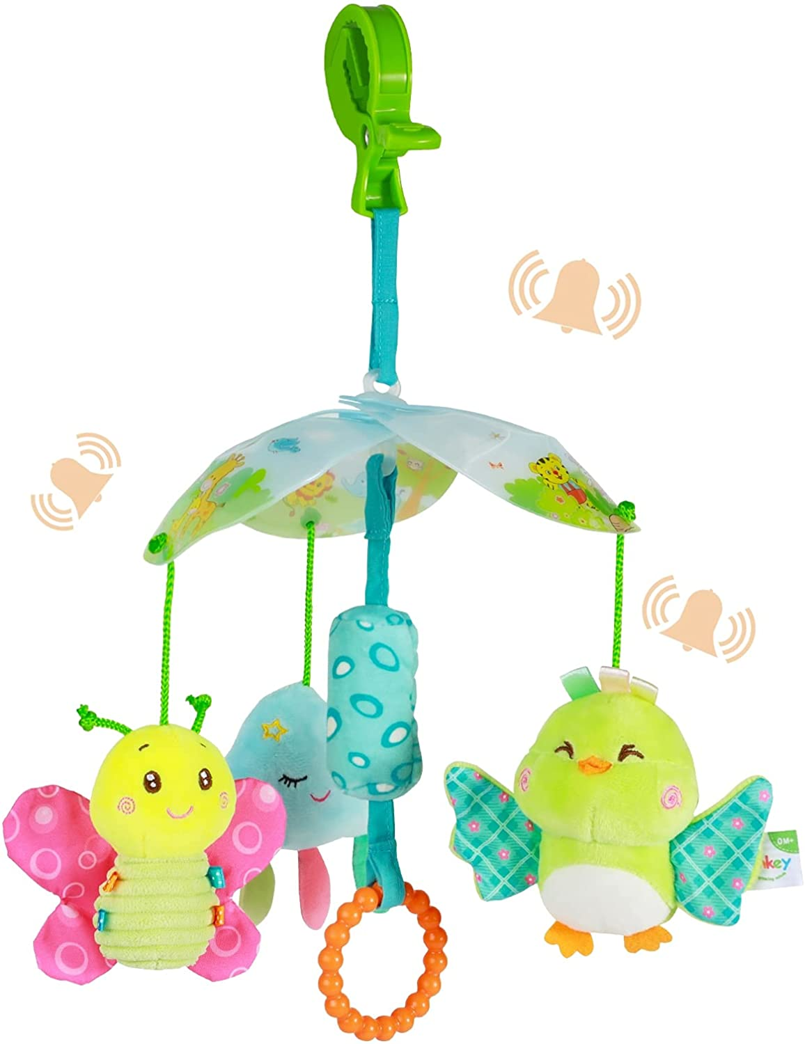 Funsland BabyToys for Toddlers Clip On Car SeatToy and BabyStroller Toy with Hanging Rattle for Infants SensoryToys forBaby Girls and Boys for Ages 3 Months & up