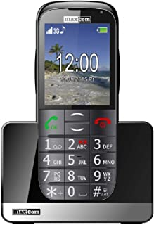 MaxCom Mobiltelefon Seniorenhandy mit Notruf Knopf Ladestation Bluetooth 2, Zoll Display 2MP Kamera FM Radio und Taschenlampe Schwarz mm721 3G