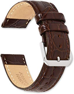 deBeer - Alligator Grain Leather Replacement Watch Band Strap - Sizes: 6mm, 8mm, 10mm, 12mm, 14mm, 15mm, 16mm, 17mm, 18mm, 19mm, 20mm