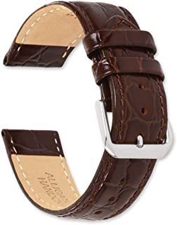deBeer - Alligator Grain Leather Replacement Watch Band Strap - Extra Long Length - 8.75