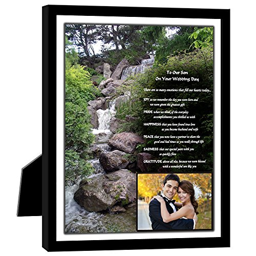 Poetry Gifts Wedding Gift for Son - Wedding Poem to Son from Parents - 8x10 Inch in Black Frame with Room for a Photo