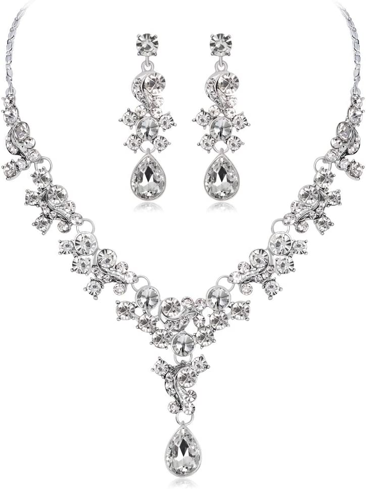 PQDAYSUN Bridal Rhinestone Crystal Chain Necklace Ring Jewelry Set bEarrings Jewelry Set Gifts fit with Wedding Dress for Wedding Party JEW002(White)